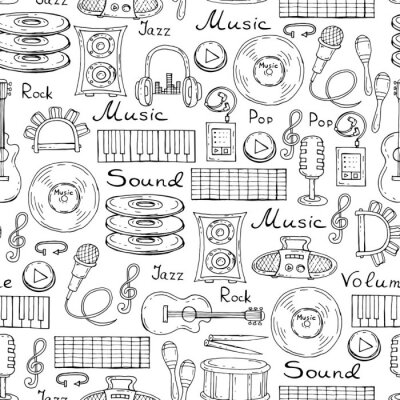 Plakat Wektor wzór z ręcznie rysowane symbole muzyki w kolorze białym