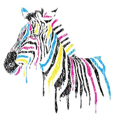 Plakat Wektor zebra z kolorowymi pasami, stylu szkicu