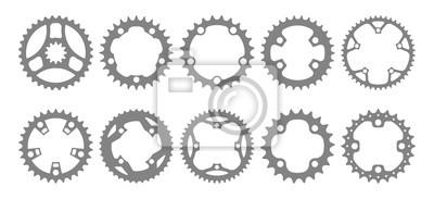 Plakat Wektor zestaw dziesięciu sylwetki tarczy roweru (koła zębate, koła łańcuchowe) na białym tle.