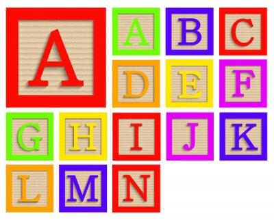 Plakat Wektor zestaw nowoczesne bloki drewniane alfabetu