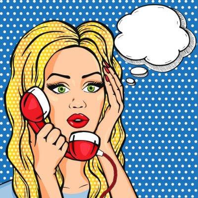 Plakat Wektor zszokowana kobieta na telefon z bańki myśli, ilustracji w stylu pop-artu komiks