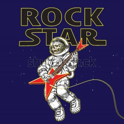 Plakat wektorowa grafika astronauta na obrazku rockowego muzyka w kosmosie w stylu kreskówkowej grafiki
