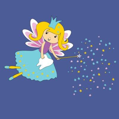 Plakat Wektorowa ilustracja ząb czarodziejka z magiczną różdżką i gwiazdami na błękitnym tle. Pierwszy certyfikat zęba.