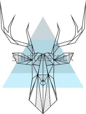 Plakat Wektorowego modnisia abstrakcjonistyczny geometryczny tło z rogaczem