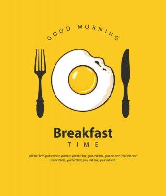 Plakat Wektorowy sztandar na temacie Śniadaniowy czas z smażącym jajkiem, rozwidleniem i nożem na żółtym tle z miejscem dla teksta w retro stylu ,.
