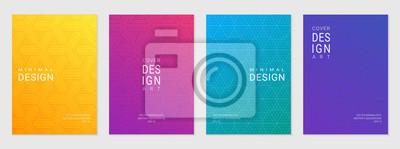 Plakat Wektorowy ustawiający okładkowy projekta szablon z minimalnymi geometrycznymi wzorami, nowożytny różny koloru gradient.