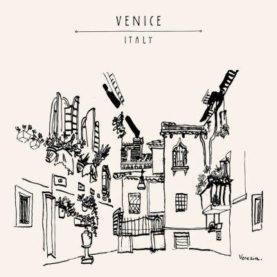 Plakat Wenecja Europa rocznik ręcznie rysowane pocztówki