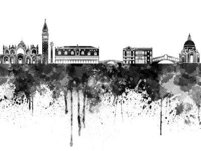 Plakat Wenecja skyline czarno akwarelą