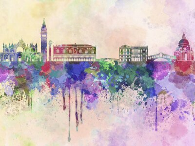 Plakat Wenecja skyline w akwarela