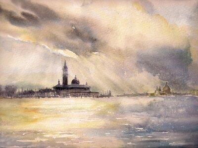 Plakat Wenecja, Włochy na sunset.Picture stworzony z akwarelami.