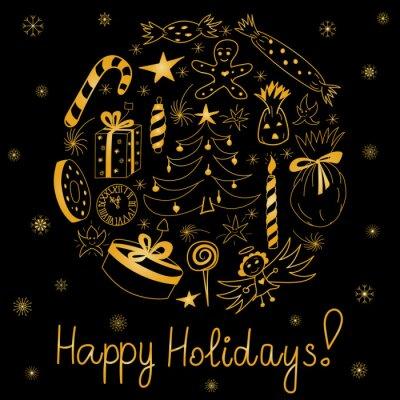 Plakat Wesołych świąt Ręcznie Rysowane Złoty Zbiory Wakacje Zestaw