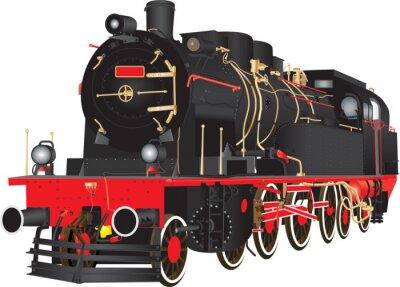 Plakat Weteran Ciężki parowa Fracht kolejowy lokomotywa izolowana na białym tle