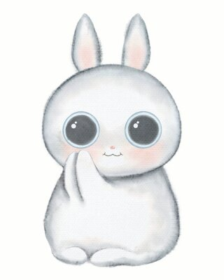 Plakat White kawaii cartoon cute little rabbit with big eyes isolated on white background. Watercolor hand drawn illustration