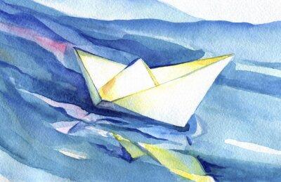 Plakat White paper ship żagle na falach. Akwarela statku i wody morskiej.