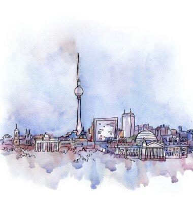 Plakat widok na Berlin akwarelą europejskiego kraju związkowego samodzielnie na białym tle