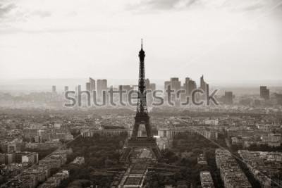 Plakat Widok na dach miasta Paryż z wieży Eiffla czarno-biały.