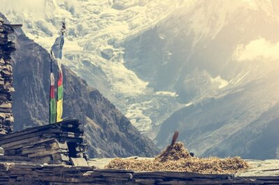 Plakat Widok na góry, Annapurnas w Nepalu.