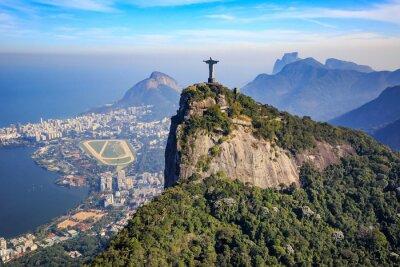 Plakat Widok z lotu ptaka Chrystusa Odkupiciela w Rio de Janeiro i miasta