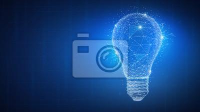 Plakat Wieloboka pomysłu żarówka na blockchain technologii sieci hud tle. Globalna koncepcja biznesowa blockchain kryptowaluty biznesu. Lampa symbolizuje inspirację, innowacje, wynalazek, skuteczne myślenie