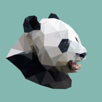 Plakat wielokątne panda, wielokąt abstrakcyjne geometryczne zwierzę, vector illus