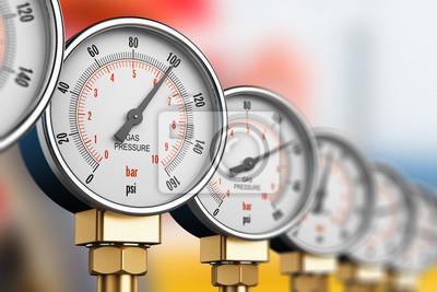 Plakat Wiersz liczników wzorcowych gazów przemysłowych wysokociśnieniowych