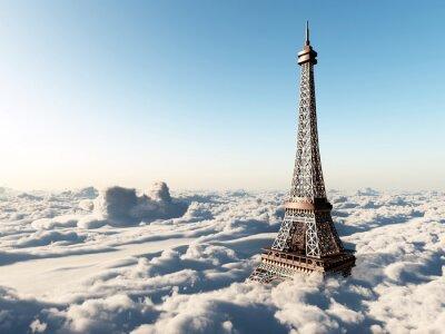 Plakat Wieża Eiffla nad chmurami