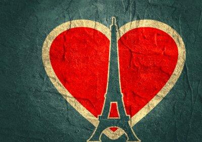 Plakat Wieża Eiffla w Paryżu. Zarys sylwetki. Gradient promienna tło