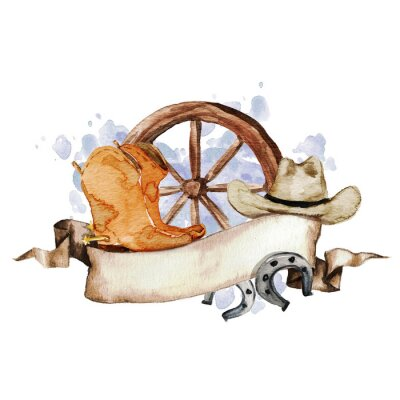 Plakat Wild West Etykieta akwarela z miejscem na tekst