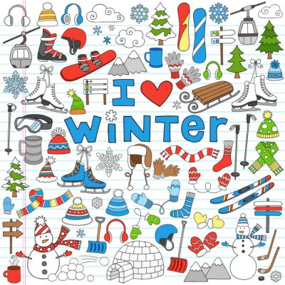 Plakat Winter Fun Back to School Notebook Doodles-Wektor Ilustracji