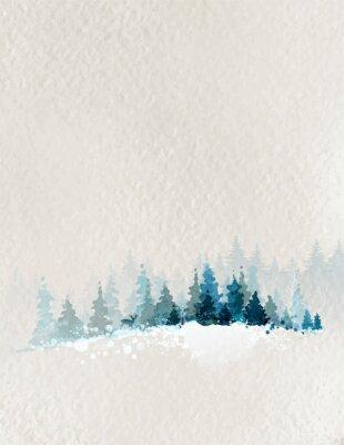 Plakat winter landscape with fir forest and deer