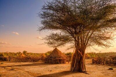 Plakat Wioska Hamer Turmi, Etiopii pobliżu