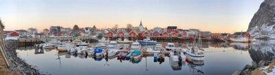 Plakat wioski rybackie w Norwegii