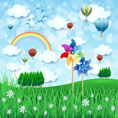 Plakat Wiosna krajobraz z Wiatraczek i balonów na ogrzane powietrze