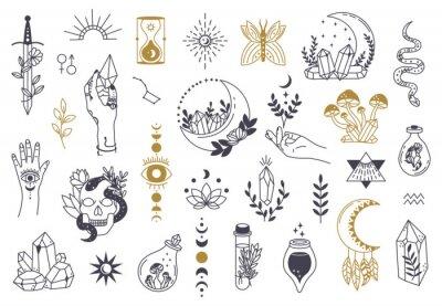 Plakat Witch magic symbols. Doodle esoteric, boho mystical hand drawn elements, magic witchcraft crystal, eyes, moon vector illustration icons set. Tattoo alchemy and esoteric, witchcraft magician
