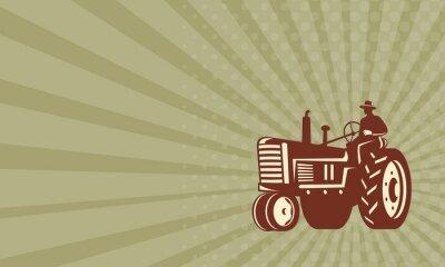 Plakat Wizytówka Farmer jazdy Vintage Retro Traktor