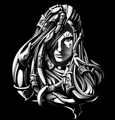 włosach czarownica z tatuażami i bransoletki we włosach