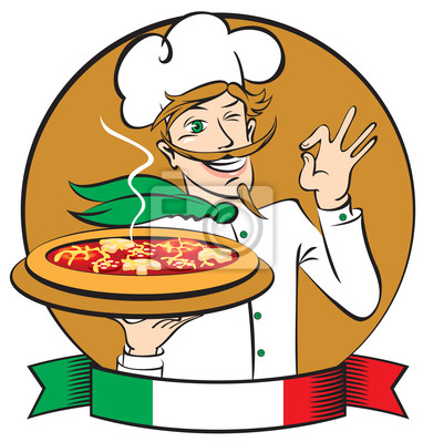 Włoski kucharz z pizzy