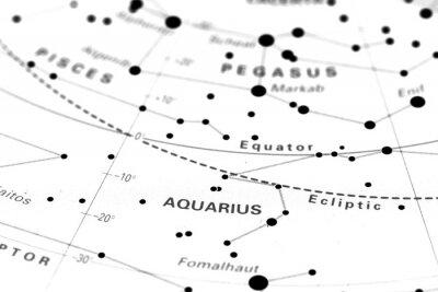 Plakat Wodnik gwiezdna mapa zodiaku. Znak zodiaku Wodnik na mapie gwiazdkowy astronomia.