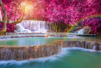 Plakat Wodospad w lesie deszczowym (TAT Kuang Si Wodospady w Luang Praba