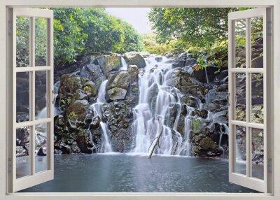 Plakat Wodospad Widok z otwartego okna