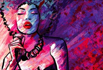 Plakat Wokalistka jazzowa z mikrofonem na tle grunge