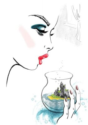 Plakat Woman and Island in Glass