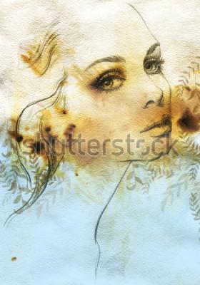Plakat Woman face. Hand painted fashion illustration