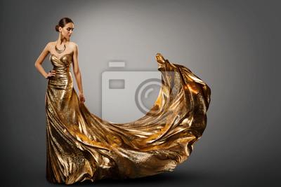 Plakat Woman Gold Dress, Fashion Model in Long Waving Fluttering Gown, Young Girl Beauty Studio Portrait
