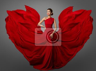 Plakat Woman Red Dress, Fashion Model in Long Silk Waving Gown Wings, Flying Fluttering Fabric