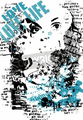 Plakat woman with graffiti street style