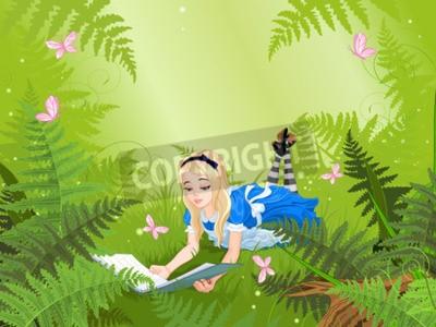 Plakat Wonderland Alicja czyta książkę na trawniku paproci