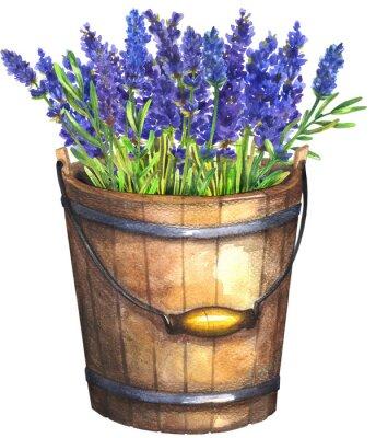 Plakat Wooden bucket with lavender
