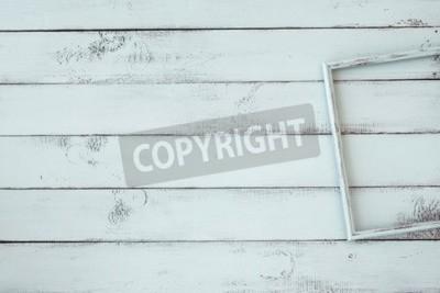 Plakat Wooden photo frame on mint shabby chic background