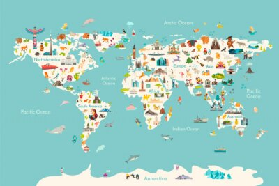 Plakat World map vector illustration. Landmarks, sight and animals hand draw icon. World vector poster for children, cute illustrated. Travel concept card